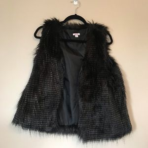 Black Faux Fur Vest from Xhilaration